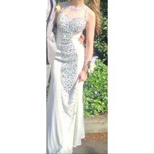 Dresses & Skirts - WHITE PROM DRESS W/ RHINESTONES (fits size 0/2)